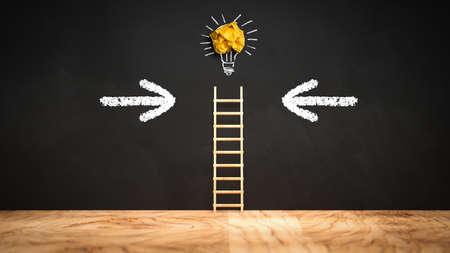 blackboard with a ladder leading to a lightbulb symbol - 3d illustration