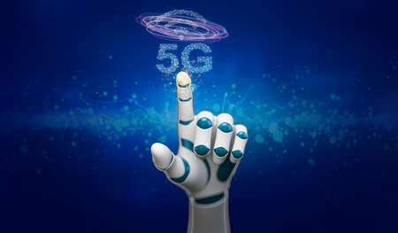 robot hand with message 5G in front of abstract blue background - 3d illustration