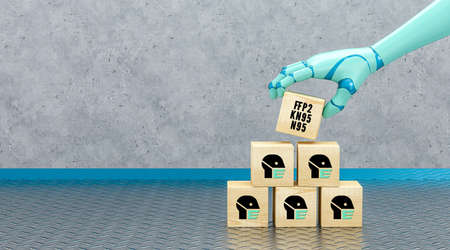 robot hand adding a cube with message FFP2, KN95 and N95 to a stack of cubes with person symbols with face masks in front of an industrial background - 3d illustration