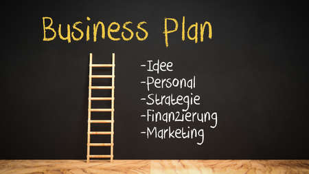 blackboard with a ladder leading to the word BUSINESS PLAN and a checklist with the German words IDEA, WORKFORCE, STRATEGY, FINANCE, MARKETING - 3d illustration