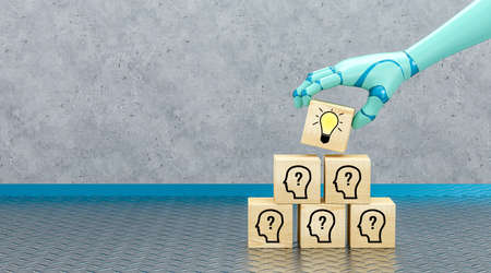 robot hand adding a cube with a lightbulb symbol to a stack of cubes with person symbols in front of an industrial background - 3d illustration 版權商用圖片