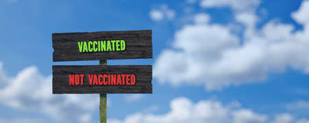 street sign with message VACCINATED and NOT VACCINATED in front of a cloudy sky - 3d illustration