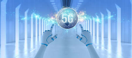 robot hand with message 5G in front of a futuristic white hallway - 3d illustration