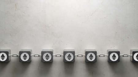 cubes interlocked with chains and ethereum symbols symbolizing a blockchain on concrete background - 3d illustration