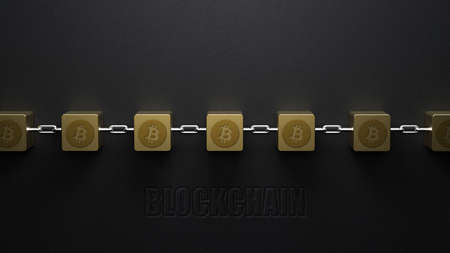 cubes interlocked with chains and bitcoin symbols and message BLOCKCHAIN on concrete background - 3d illustration