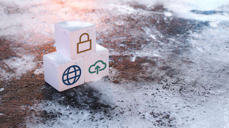 cubes with world, upload and a lock symbol on frozen winter background - 3d illustration