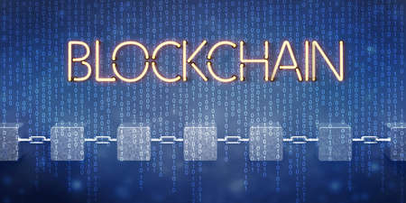 cubes interlocked with chains symbolizing a blockchain on abstract digital background - 3d illustration
