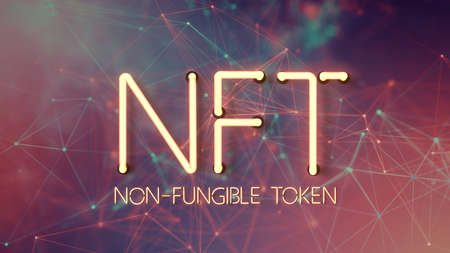 message NFT - NON FUNGIBLE TOKEN in neon letters on an abstract background - 3d illustration
