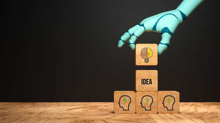 robot hand adding a cube with a brain symbol to a stack of cubes with people symbols and the word IDEA in front of a blackboard - 3d illustration