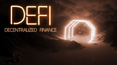 message DEFI - DECENTRALIZED FINANCE in neon letters on abstract background - 3d illustration