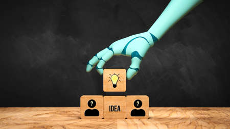 robot hand adding a cube with a lightbulb symbol to a stack of cubes with people symbols in front of a blackboard - 3d illustration