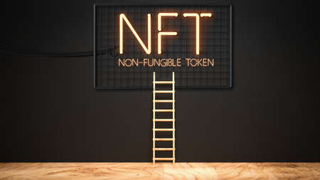 message NFT - NON FUNGIBLE TOKEN in neon letters on a black wall - 3d illustration