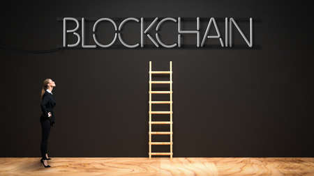 businesswoman looking at neon message BLOCKCHAIN on a black wall