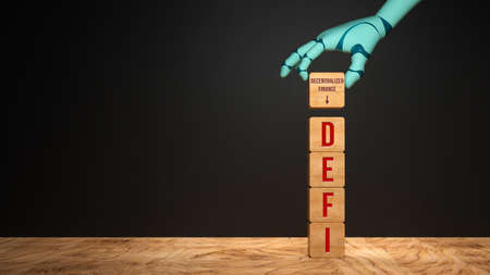 stack of cubes with text DEFI and robot hand adding a cube with explanation DECENTRALIZED FINANCE in front of a black wall - 3d illustration