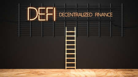 message DEFI - DECENTRALIZED FINANCE in neon letters on a black wall and a ladder - 3d illustration