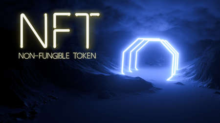 message NFT - NON FUNGIBLE TOKEN in neon letters in front of a surreal snowy mountain scene - 3d illustration