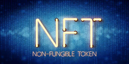 message NFT - NON FUNGIBLE TOKEN in neon letters on abstract digital background - 3d illustration 版權商用圖片