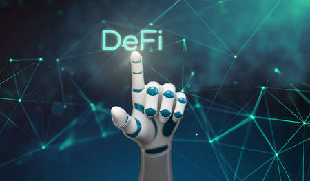 robot hand seleting the text DeFi in front of an abstract background - 3d illustration 版權商用圖片