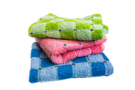 corner tub: Terry towels on a white background