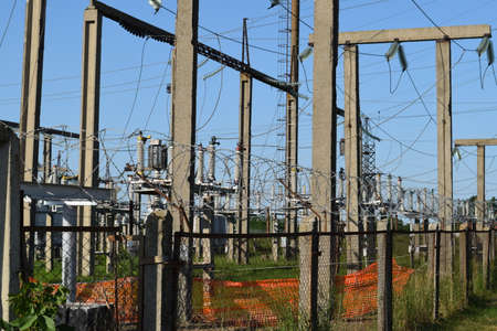 Power substation. Small distributive power substation in the settlement.
