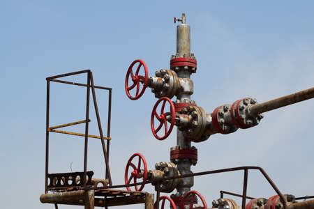oil well: Oil well. The equipment and technologies on oil fields. Stock Photo