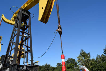 counterbalance: The pumping unit as the oil pump installed on a well. Equipment of oil fields.