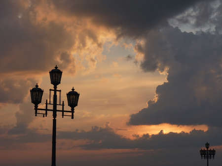 electric avenue: Streetlight against a decline. Beautiful view of a decline. Stock Photo