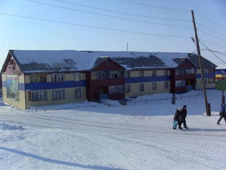 esquimales: YAMAL, SYO-Yaha - 15 de enero de 2015: Aspecto de la solución de Syo-Yakh en el invierno. Al norte de Rusia.