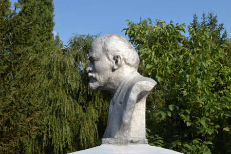 totalitarianism: Old monument to Lenin. A concrete bust of Lenin near recreation center in the rural settlement.
