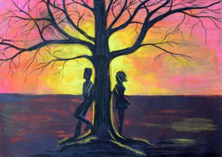 unknown age: The guy and the girl on the different parties of a tree. The landscape at sunset drawn with pencils on black paper.