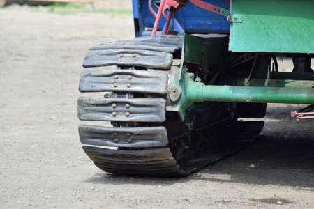 agricultural machinery: Combine continuous track. Parts and elements of agricultural machinery. Stock Photo