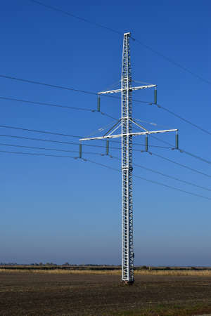 conductivity: New power line along the country road.