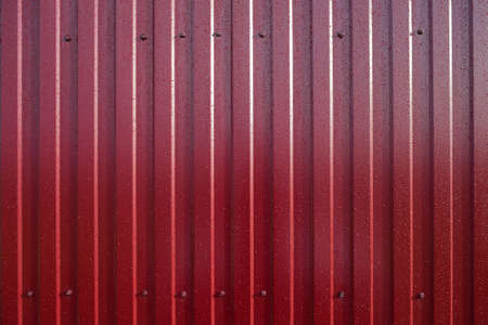 color: Diagonal pattern of metal profile. Fences from the galvanized iron painted by a polymeric covering.