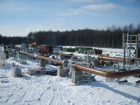 booster: Platform of construction of pipelines. Booster pump station.