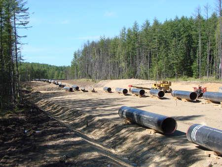 transporte terrestre: La construcci�n del gasoducto en el suelo. El transporte de los portadores de energ�a.