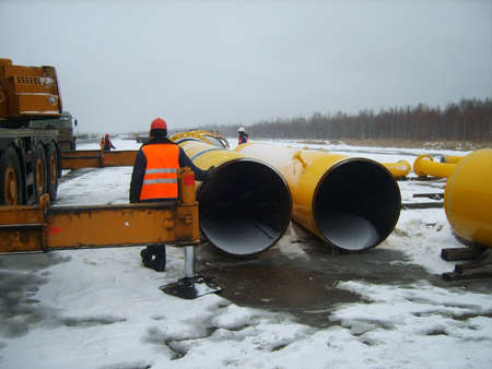 pressurized: Construction of the gas pipeline on the ground. Transportation of energy carriers.