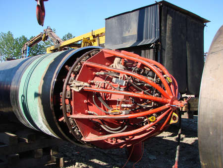 crack pipe: The device for research of the pipeline at construction. Identification of shortcomings. Stock Photo