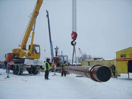 Sakhalin, Russie - 12 Novembre 2014: La construction du gazoduc sur le terrain. Transport des porteurs d'énergie. Éditoriale