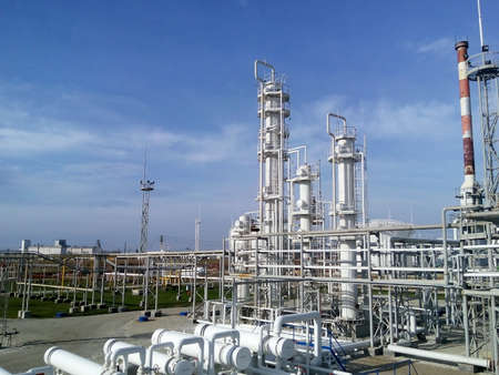 The oil refinery. Equipment for primary oil refining. 免版税图像