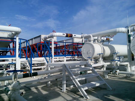 The oil refinery. Equipment for primary oil refining. Standard-Bild