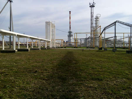 catalytic: The oil refinery. Equipment for primary oil refining. Stock Photo