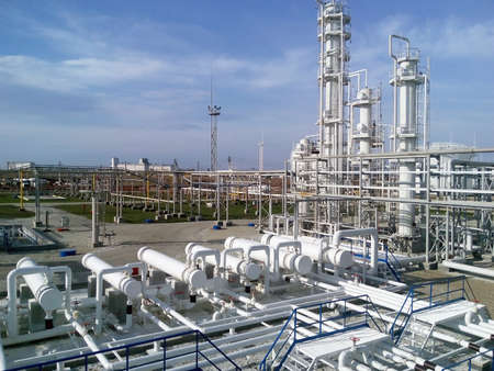 a faction: The oil refinery. Equipment for primary oil refining. Stock Photo