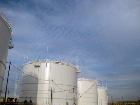 rectification: Storage tanks for petroleum products. Equipment refinery. Stock Photo