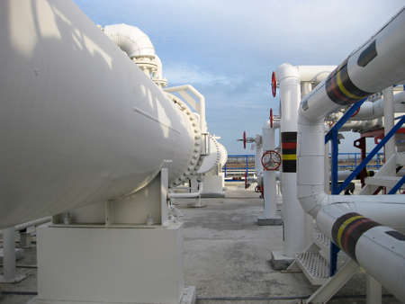 rectification: Heat exchangers in a refinery. The equipment for oil refining. Stock Photo