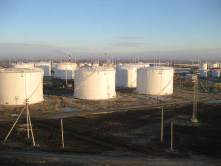 viscosity: Storage tanks for petroleum products. Equipment refinery. Stock Photo