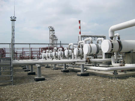 viscosity: Heat exchangers in a refinery. The equipment for oil refining. Stock Photo