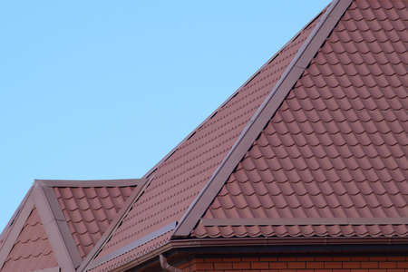 roof profile: Roof metal sheets. Modern types of roofing materials.
