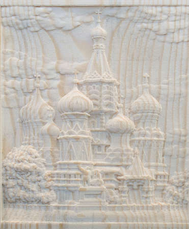 numerical: Carving on the machine with numerical control. Cut cutter machine bas-reliefs of the temple with domes. Stock Photo