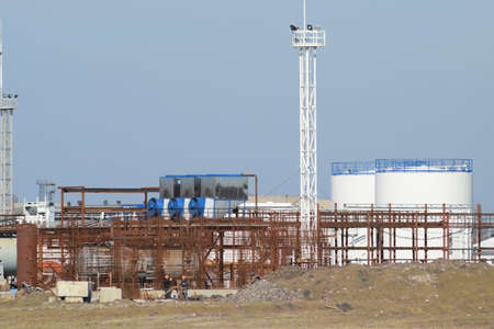 stabilization: The oil refinery. Equipment for primary oil refining. Stock Photo