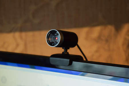 big brother spy: Web camera, attached to the monitor. Equipment for video.
